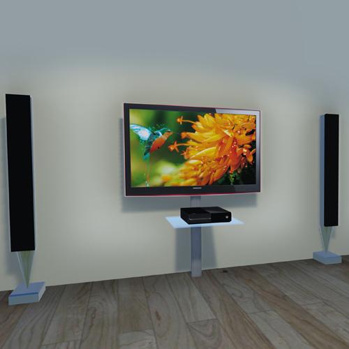 Staffa Porta Tv Con Mensola.Dettagli Su Supporto Tv Universale Con Mensole Staffa Da Parete